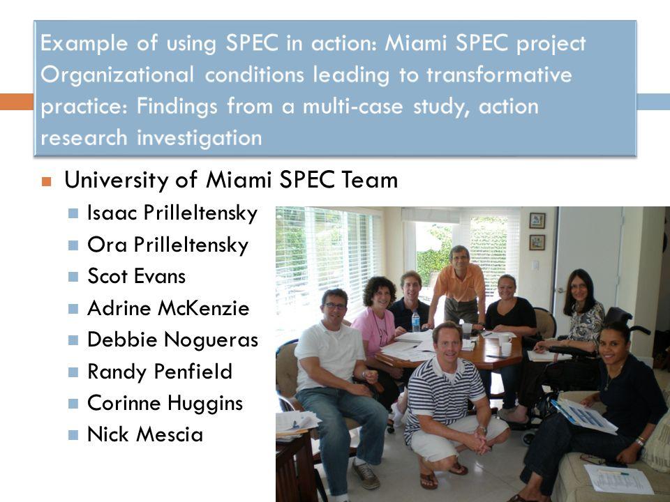 University of Miami SPEC Team Isaac Prilleltensky Ora Prilleltensky Scot Evans Adrine McKenzie Debbie Nogueras Randy Penfield Corinne Huggins Nick Mescia