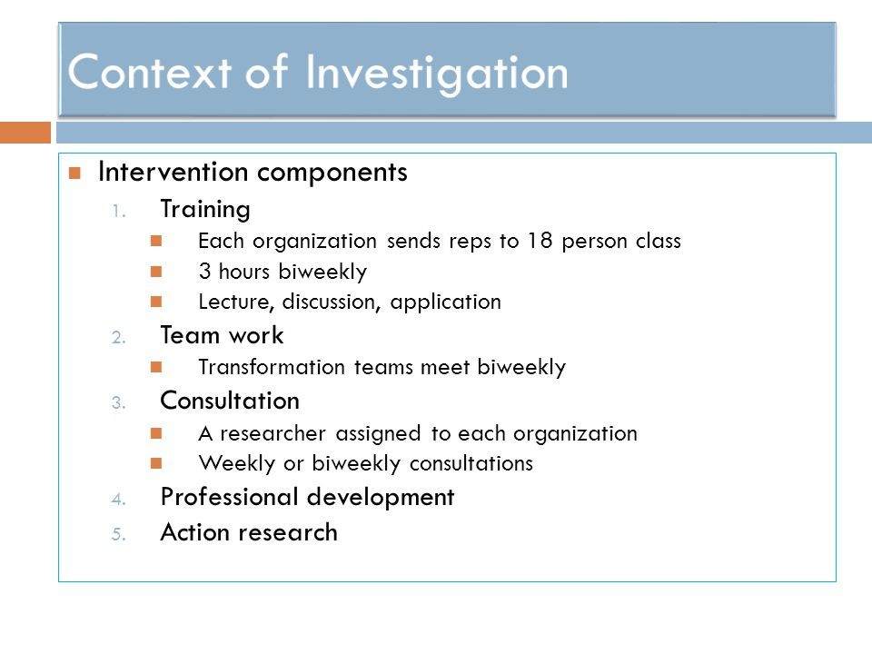 Intervention components 1.