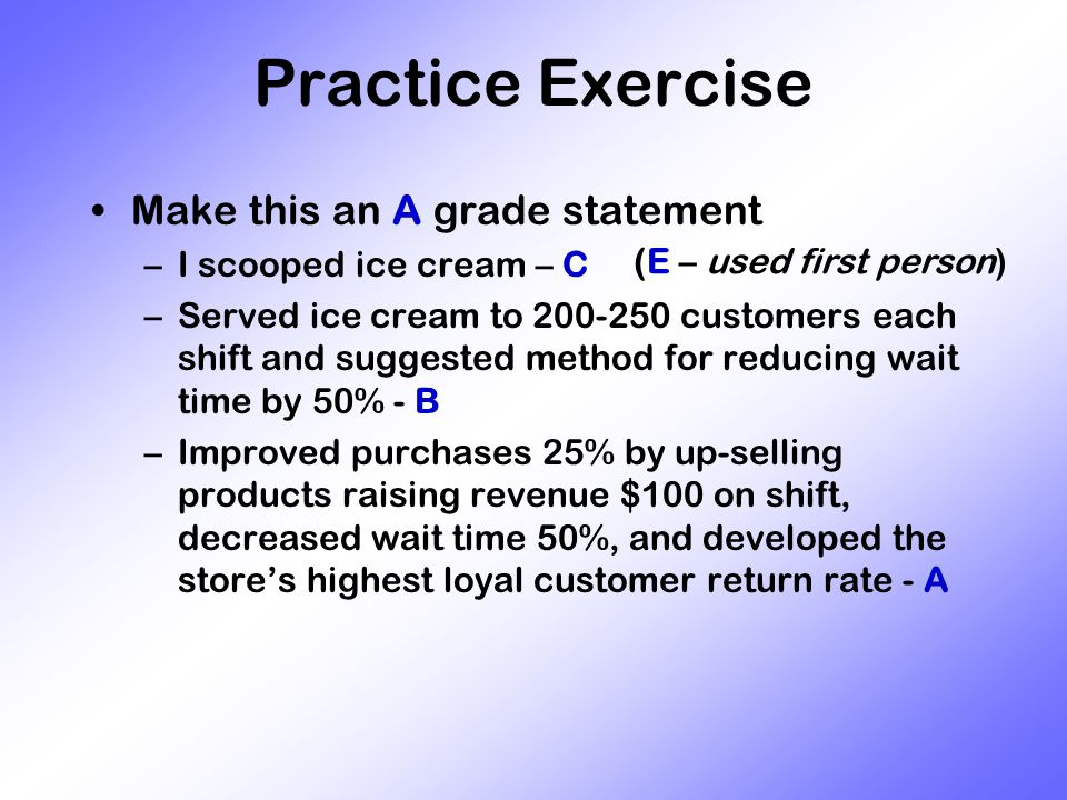 Practice Exercise Make this an A grade statement –I scooped ice cream – C –Served ice cream to 200-250 customers each shift and suggested method for reducing wait time by 50% - B –Improved purchases 25% by up-selling products raising revenue $100 on shift, decreased wait time 50%, and developed the store's highest loyal customer return rate - A (E – used first person)