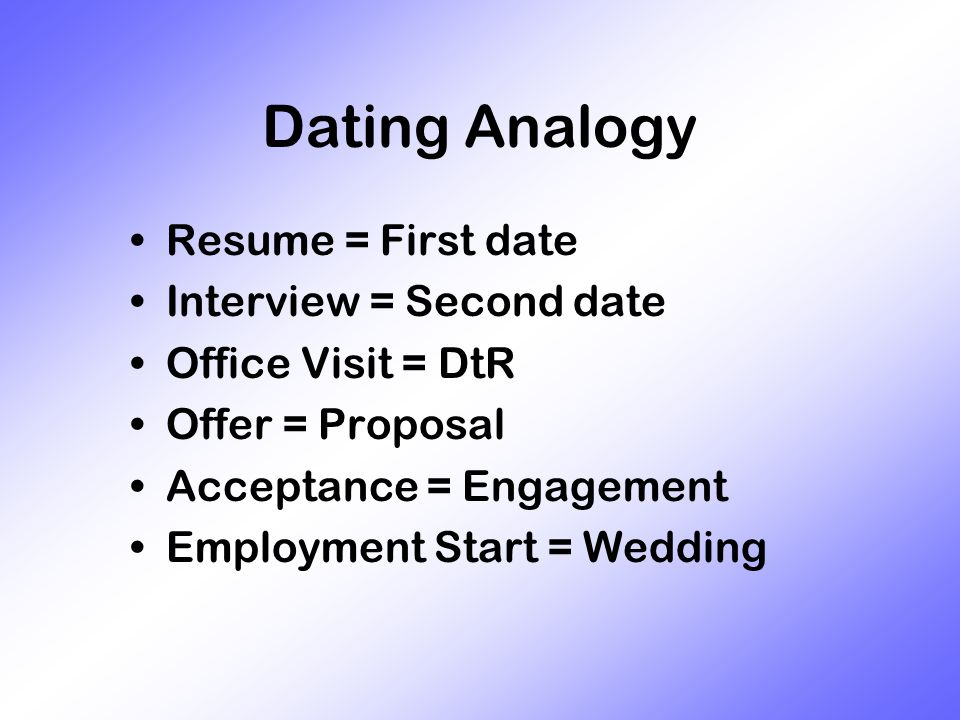 Dating Analogy Resume = First date Interview = Second date Office Visit = DtR Offer = Proposal Acceptance = Engagement Employment Start = Wedding