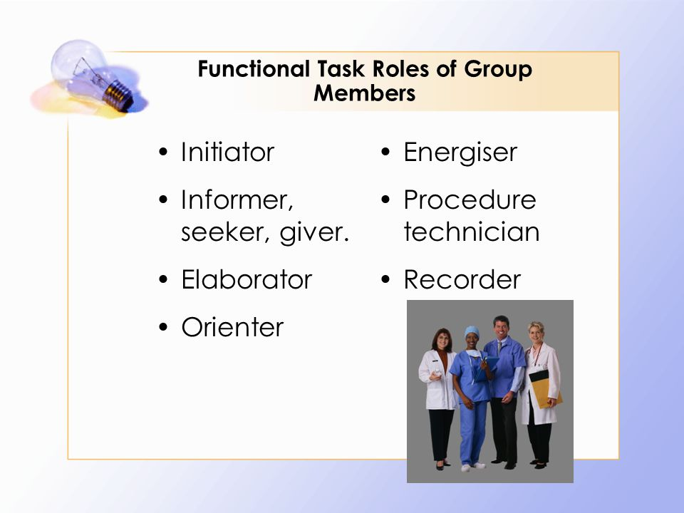 Functional Task Roles of Group Members Initiator Informer, seeker, giver. Elaborator Orienter Energiser Procedure technician Recorder