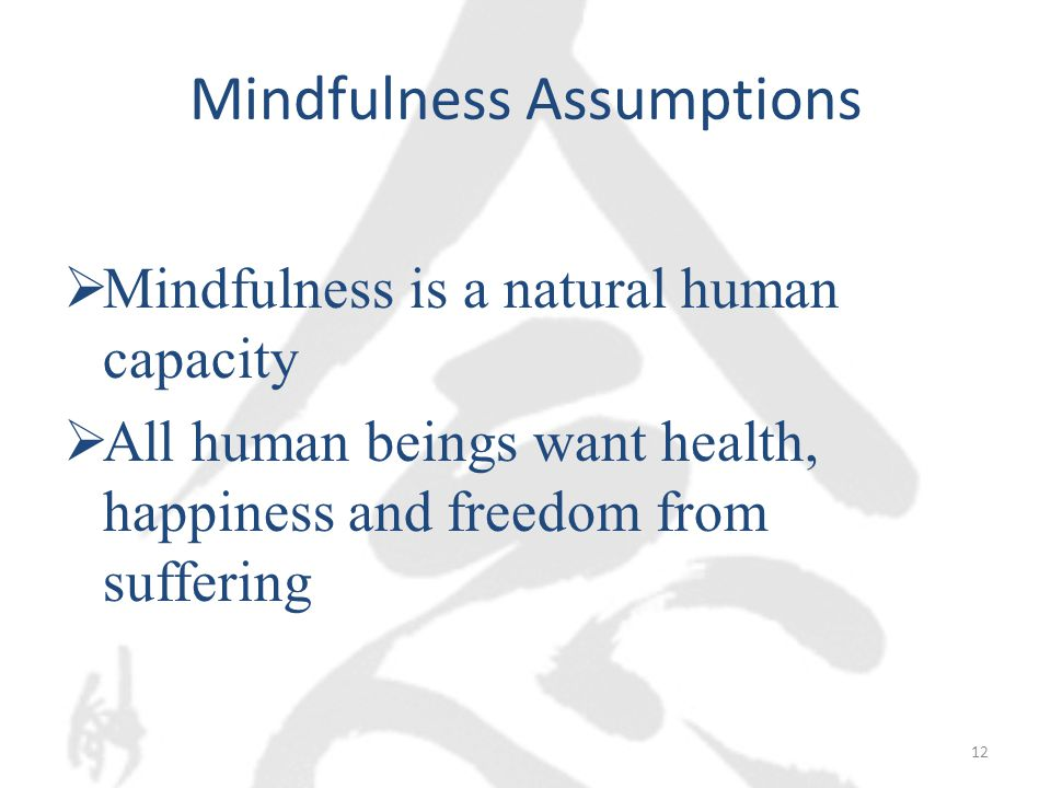 Mindfulness Assumptions  Mindfulness is a natural human capacity  All human beings want health, happiness and freedom from suffering 12