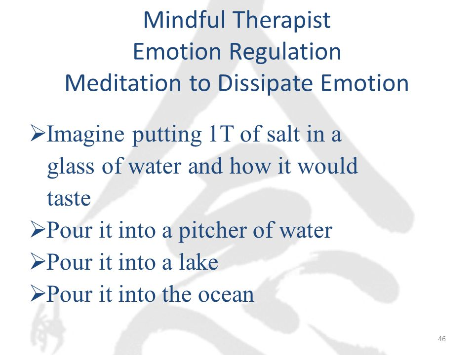 Mindful Therapist Emotion Regulation Meditation to Dissipate Emotion  Imagine putting 1T of salt in a glass of water and how it would taste  Pour it into a pitcher of water  Pour it into a lake  Pour it into the ocean 46