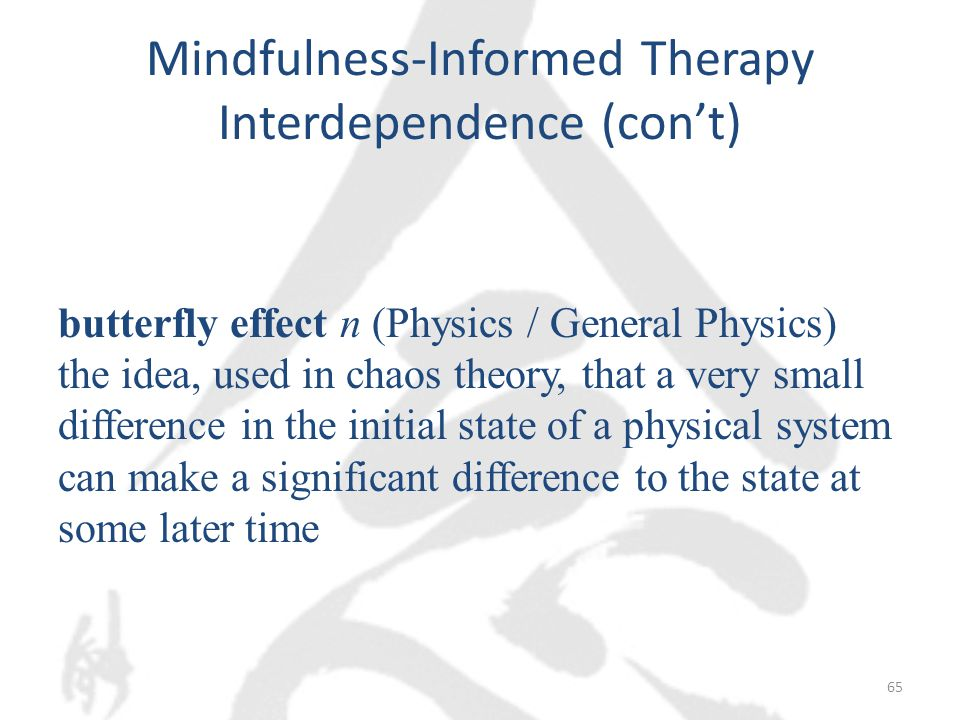 Mindfulness-Informed Therapy Interdependence (con't) butterfly effect n (Physics / General Physics) the idea, used in chaos theory, that a very small difference in the initial state of a physical system can make a significant difference to the state at some later time 65