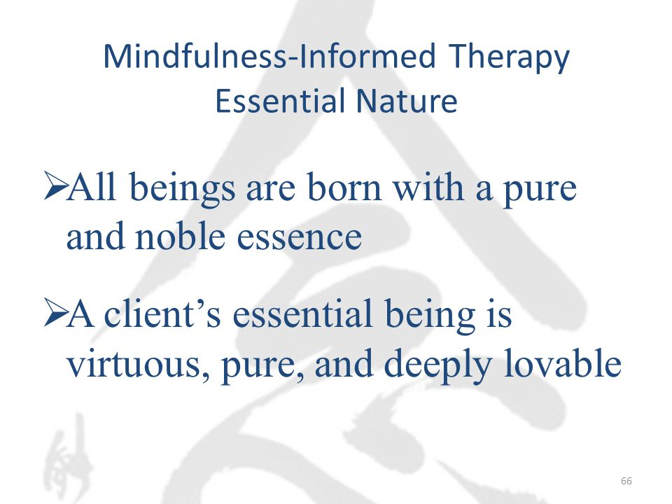 Mindfulness-Informed Therapy Essential Nature  All beings are born with a pure and noble essence  A client's essential being is virtuous, pure, and deeply lovable 66