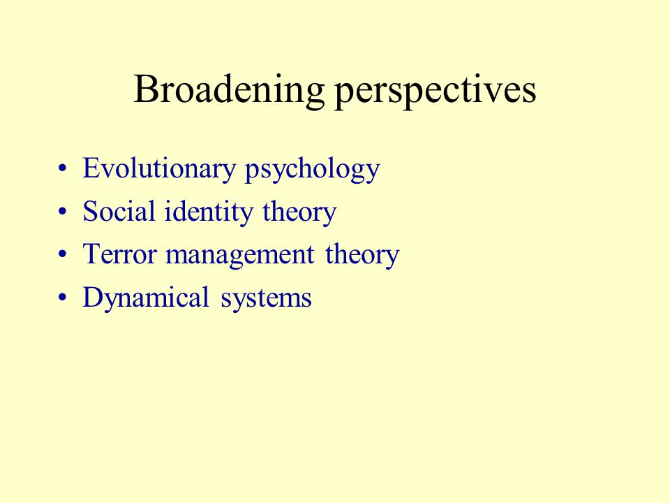 Broadening perspectives Evolutionary psychology Social identity theory Terror management theory Dynamical systems