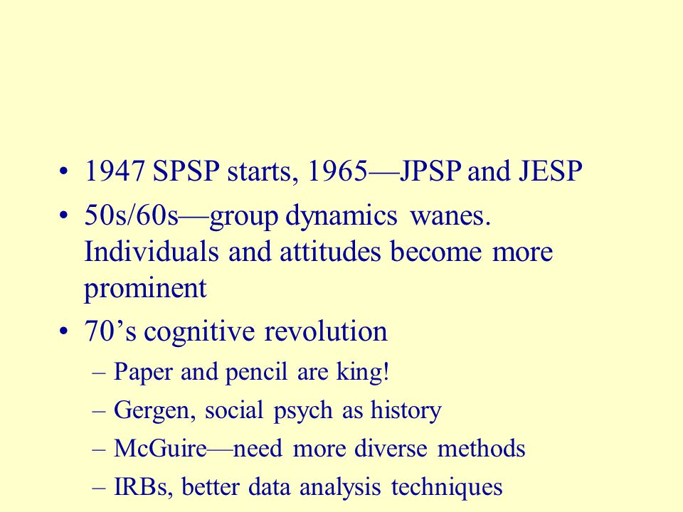 1947 SPSP starts, 1965—JPSP and JESP 50s/60s—group dynamics wanes.