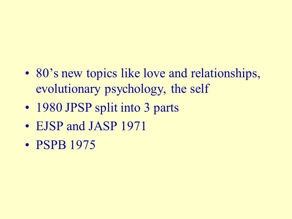 80's new topics like love and relationships, evolutionary psychology, the self 1980 JPSP split into 3 parts EJSP and JASP 1971 PSPB 1975