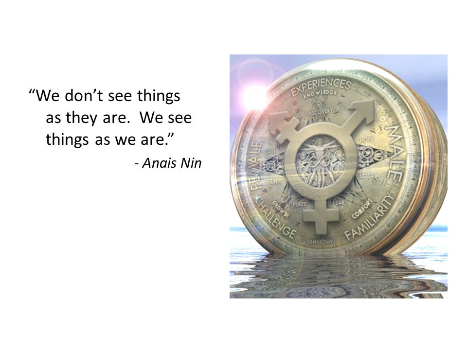 We don't see things as they are. We see things as we are. - Anais Nin