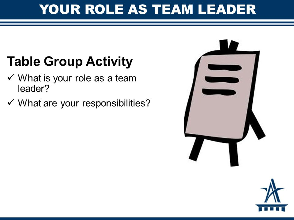 YOUR ROLE AS TEAM LEADER Table Group Activity What is your role as a team leader.