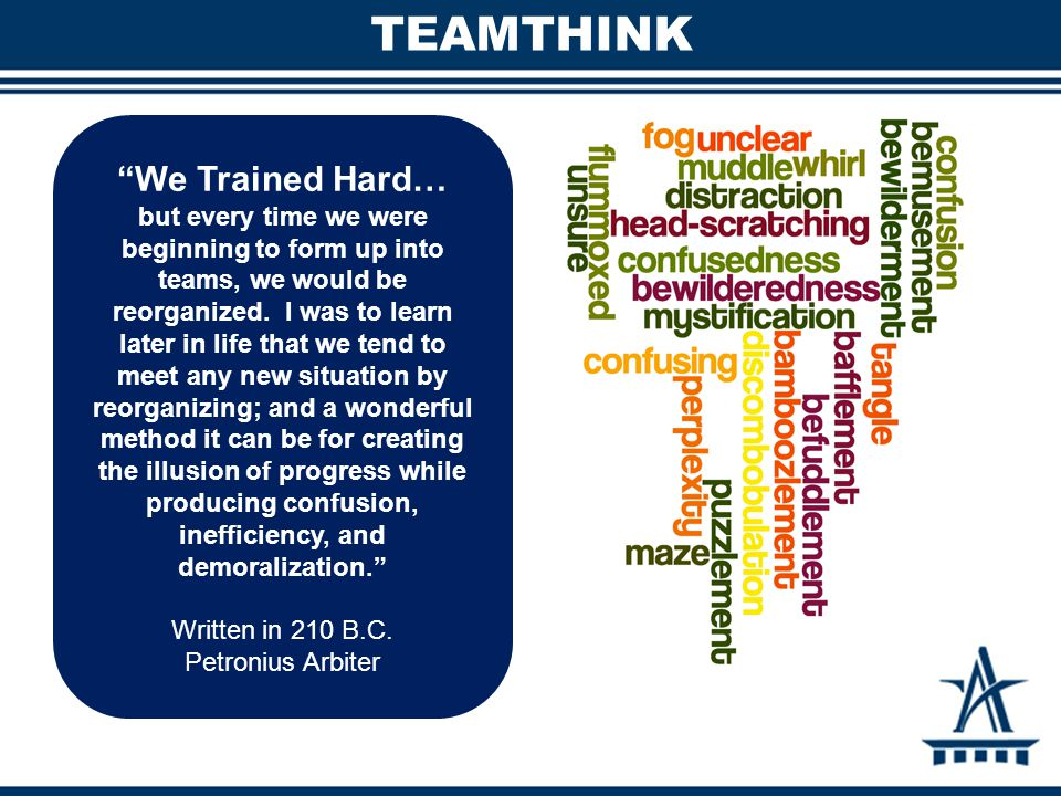 TEAMTHINK We Trained Hard… but every time we were beginning to form up into teams, we would be reorganized.