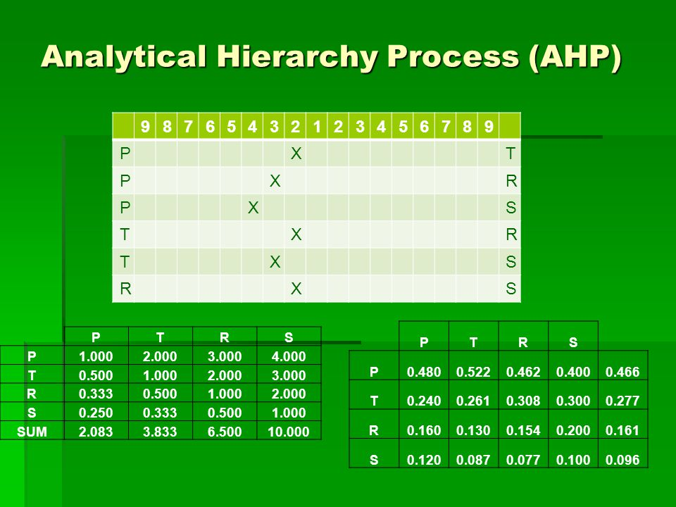Analytical Hierarchy Process (AHP) PTRS P1.0002.0003.0004.000 T0.5001.0002.0003.000 R0.3330.5001.0002.000 S0.2500.3330.5001.000 SUM2.0833.8336.50010.000 PTRS P0.4800.5220.4620.4000.466 T0.2400.2610.3080.3000.277 R0.1600.1300.1540.2000.161 S0.1200.0870.0770.1000.096 98765432123456789 PXT PXR PXS TXR TXS RXS