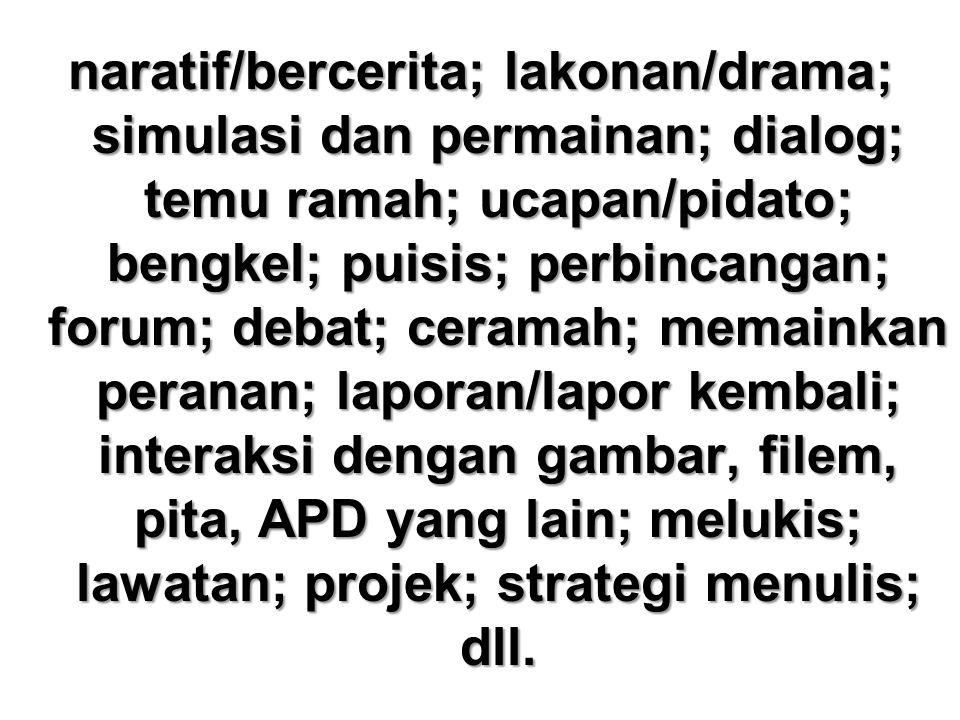 naratif/bercerita; lakonan/drama; simulasi dan permainan; dialog; temu ramah; ucapan/pidato; bengkel; puisis; perbincangan; forum; debat; ceramah; mem