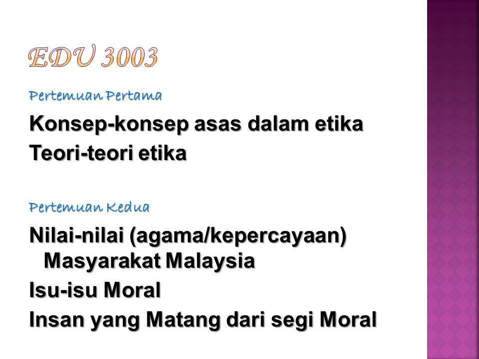 Pertemuan Pertama Konsep-konsep asas dalam etika Teori-teori etika Pertemuan Kedua Nilai-nilai (agama/kepercayaan) Masyarakat Malaysia Isu-isu Moral Insan yang Matang dari segi Moral