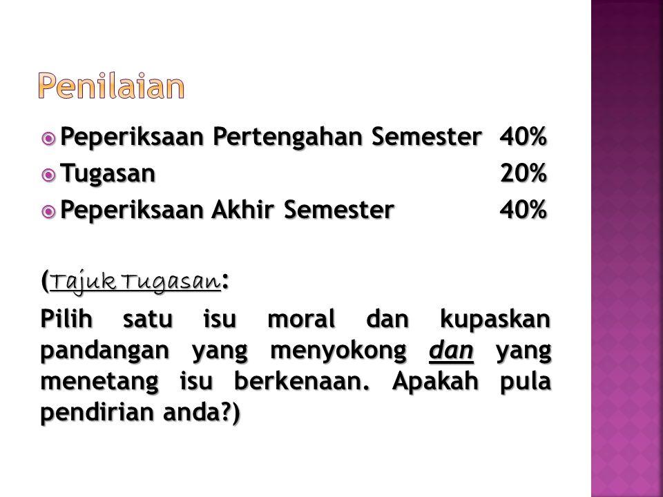  Peperiksaan Pertengahan Semester 40%  Tugasan 20%  Peperiksaan Akhir Semester 40% ( Tajuk Tugasan : Pilih satu isu moral dan kupaskan pandangan yang menyokong dan yang menetang isu berkenaan.