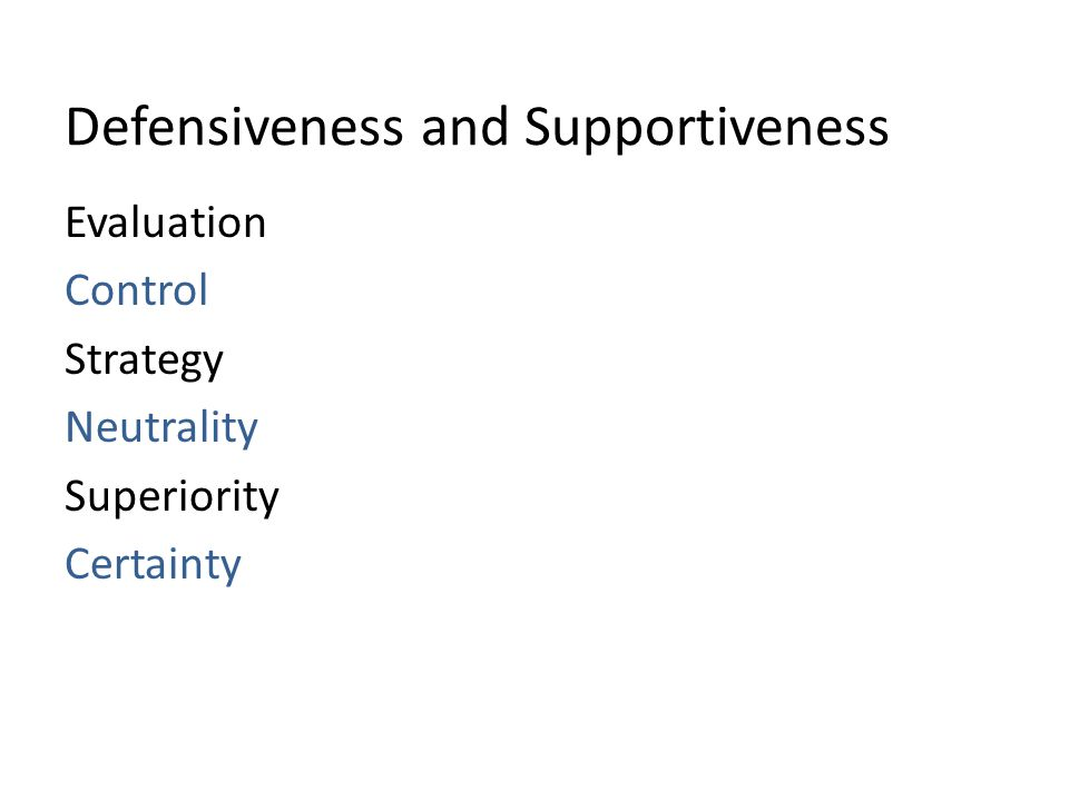 Defensiveness and Supportiveness Evaluation Control Strategy Neutrality Superiority Certainty