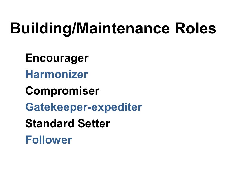 Building/Maintenance Roles Encourager Harmonizer Compromiser Gatekeeper-expediter Standard Setter Follower