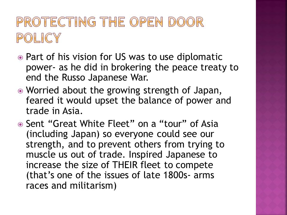 Part of his vision for US was to use diplomatic power- as he did in brokering the peace treaty to end the Russo Japanese War.  Worried about the gr