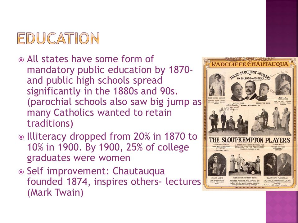  All states have some form of mandatory public education by 1870- and public high schools spread significantly in the 1880s and 90s. (parochial schoo