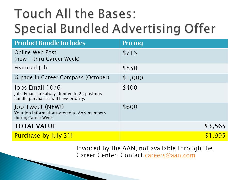 Product Bundle IncludesPricing Online Web Post (now - thru Career Week) $715 Featured Job $850 ¼ page in Career Compass (October) $1,000 Jobs Email 10/6 Jobs Emails are always limited to 25 postings.
