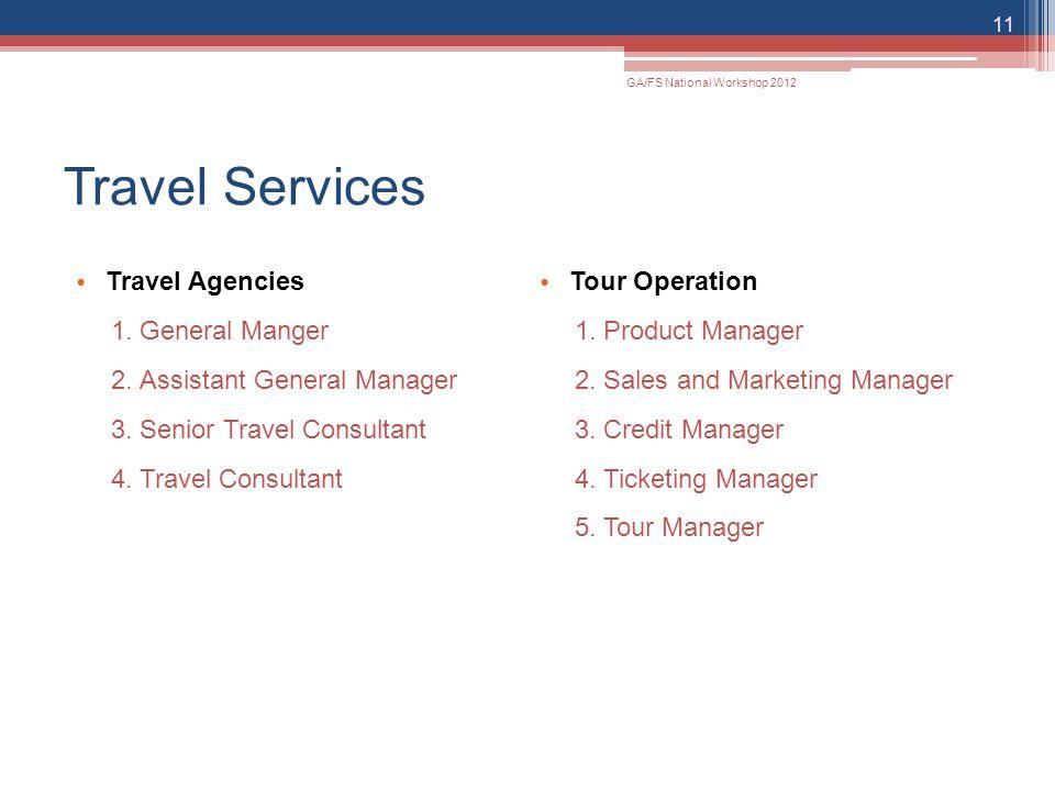 Travel Services Travel Agencies 1.General Manger 2.Assistant General Manager 3.Senior Travel Consultant 4.Travel Consultant Tour Operation 1.Product M