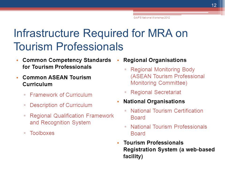 Infrastructure Required for MRA on Tourism Professionals Common Competency Standards for Tourism Professionals Common ASEAN Tourism Curriculum ▫ Frame