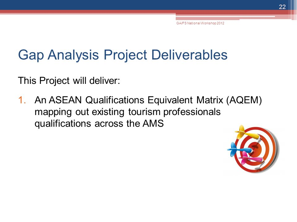 Gap Analysis Project Deliverables This Project will deliver: 1.An ASEAN Qualifications Equivalent Matrix (AQEM) mapping out existing tourism professio