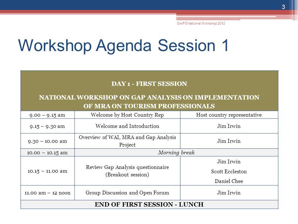 Workshop Agenda Session 1 GA/FS National Workshop 2012 3 DAY 1 - FIRST SESSION NATIONAL WORKSHOP ON GAP ANALYSIS ON IMPLEMENTATION OF MRA ON TOURISM P