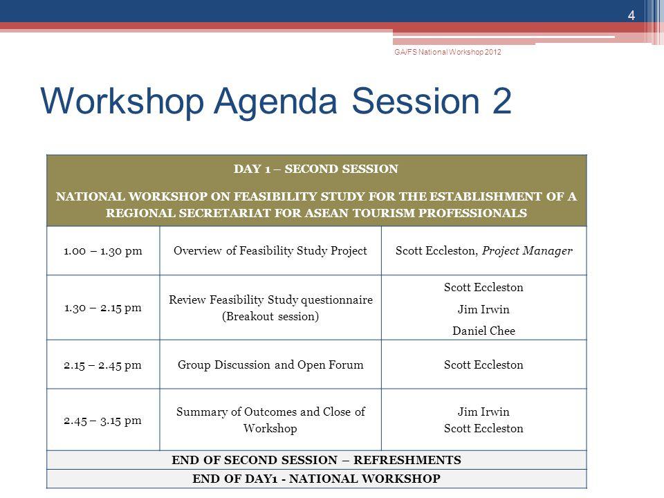Workshop Agenda Session 2 GA/FS National Workshop 2012 4 DAY 1 – SECOND SESSION NATIONAL WORKSHOP ON FEASIBILITY STUDY FOR THE ESTABLISHMENT OF A REGI