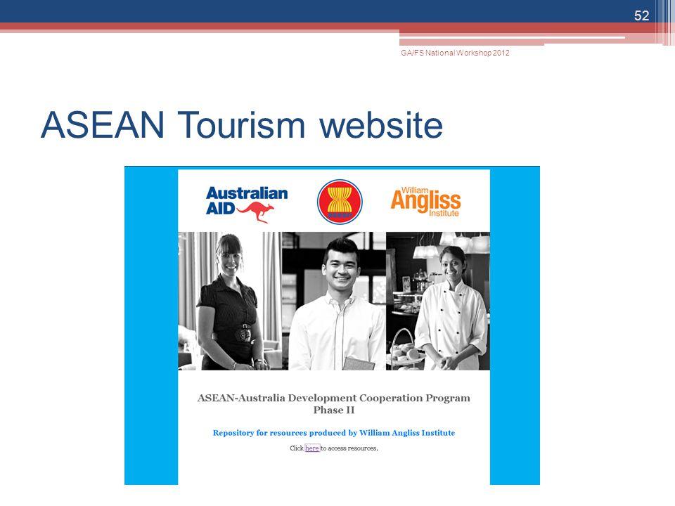 ASEAN Tourism website 52 GA/FS National Workshop 2012
