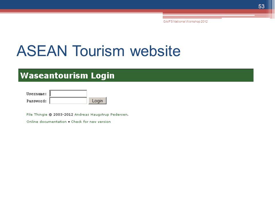 ASEAN Tourism website 53 GA/FS National Workshop 2012