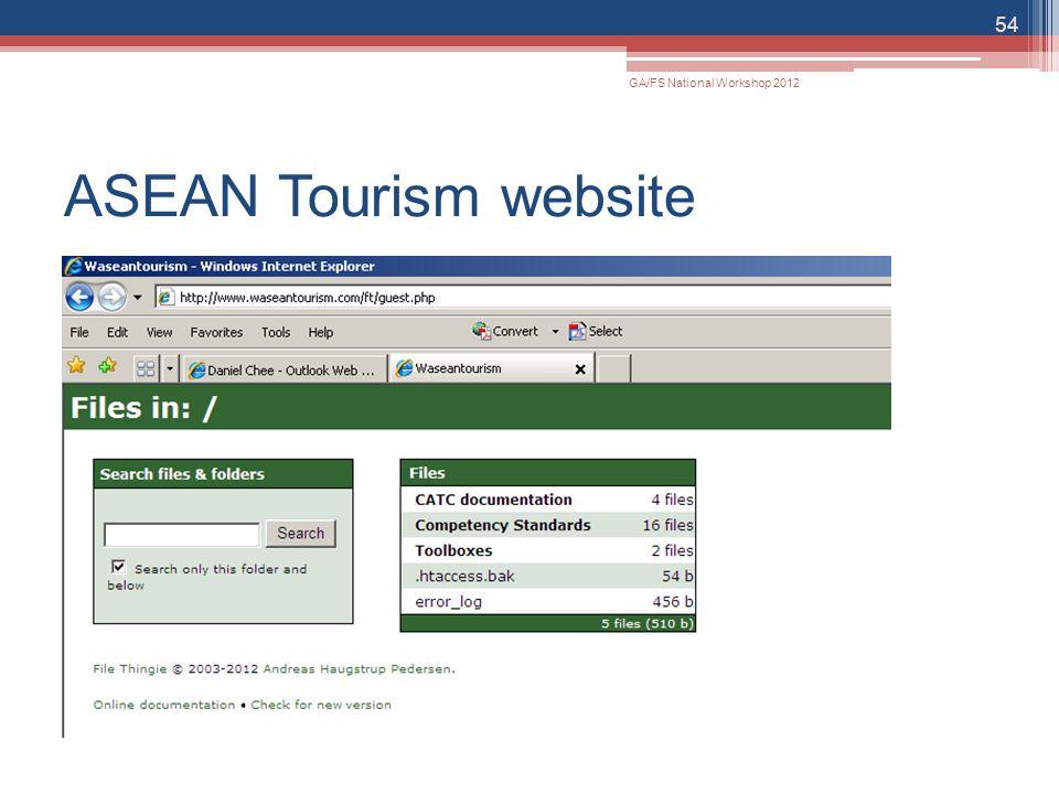 ASEAN Tourism website 54 GA/FS National Workshop 2012