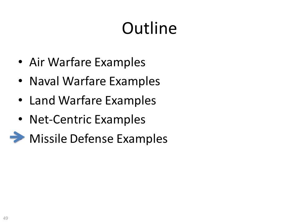 Outline Air Warfare Examples Naval Warfare Examples Land Warfare Examples Net-Centric Examples Missile Defense Examples 49