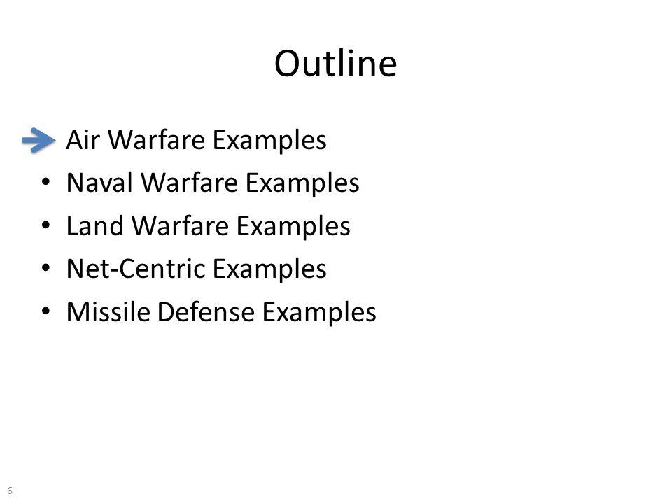 Outline Air Warfare Examples Naval Warfare Examples Land Warfare Examples Net-Centric Examples Missile Defense Examples 6