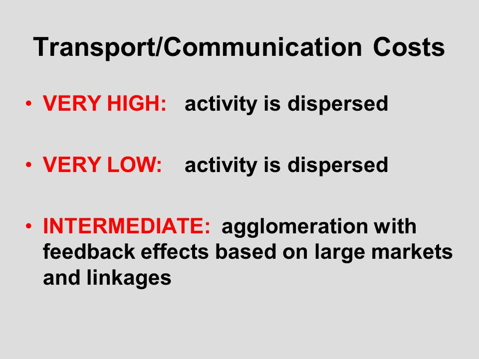 Transport/Communication Costs VERY HIGH:activity is dispersed VERY LOW:activity is dispersed INTERMEDIATE: agglomeration with feedback effects based on large markets and linkages