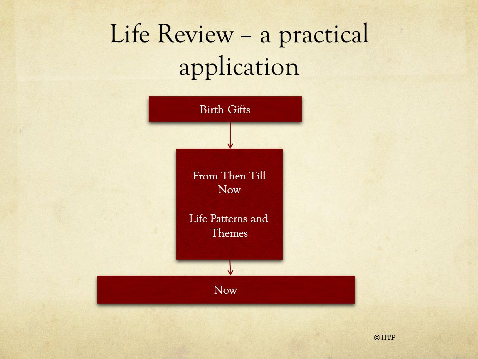 Life Review – a practical application © HTP Birth Gifts From Then Till Now Life Patterns and Themes From Then Till Now Life Patterns and Themes Now