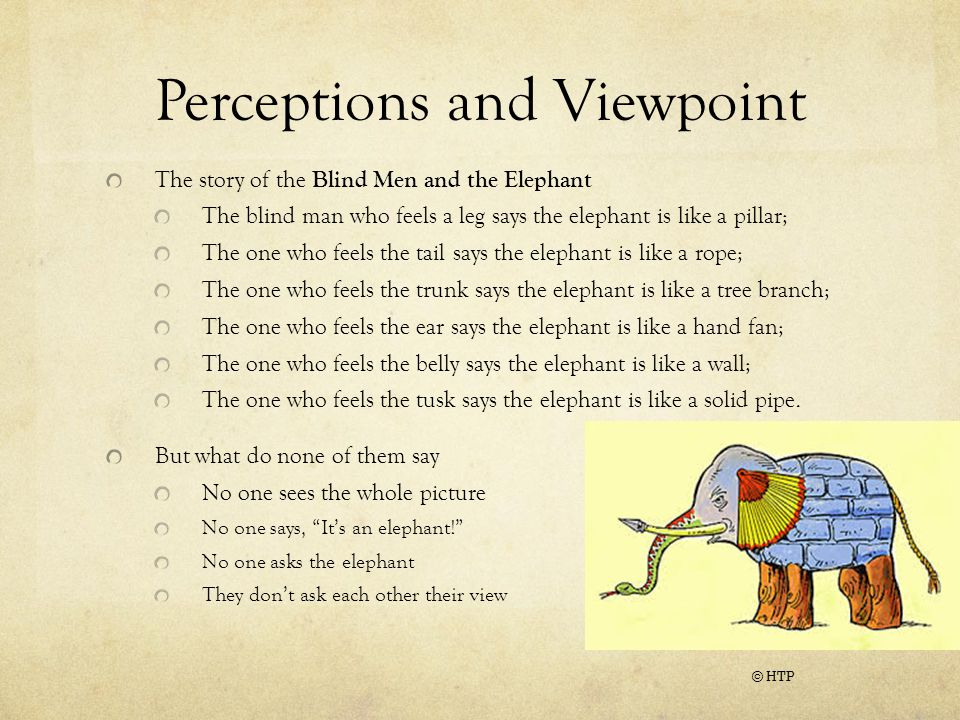 Perceptions and Viewpoint The story of the Blind Men and the Elephant The blind man who feels a leg says the elephant is like a pillar; The one who feels the tail says the elephant is like a rope; The one who feels the trunk says the elephant is like a tree branch; The one who feels the ear says the elephant is like a hand fan; The one who feels the belly says the elephant is like a wall; The one who feels the tusk says the elephant is like a solid pipe.