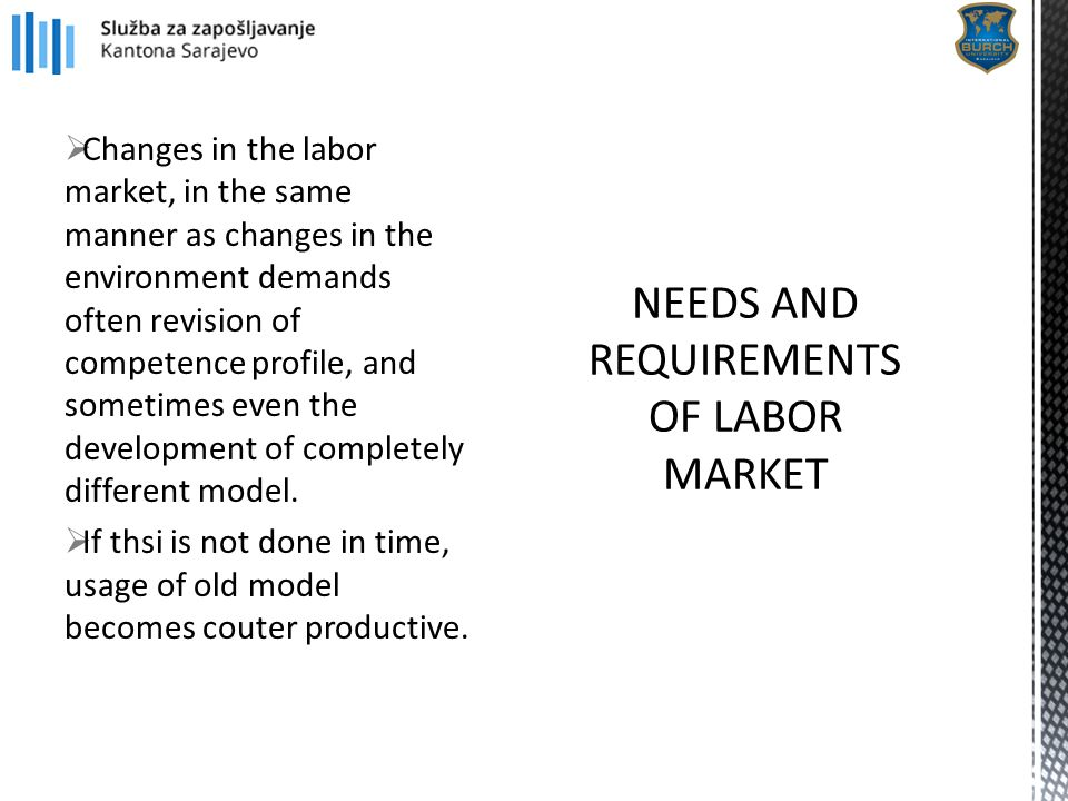  Changes in the labor market, in the same manner as changes in the environment demands often revision of competence profile, and sometimes even the d