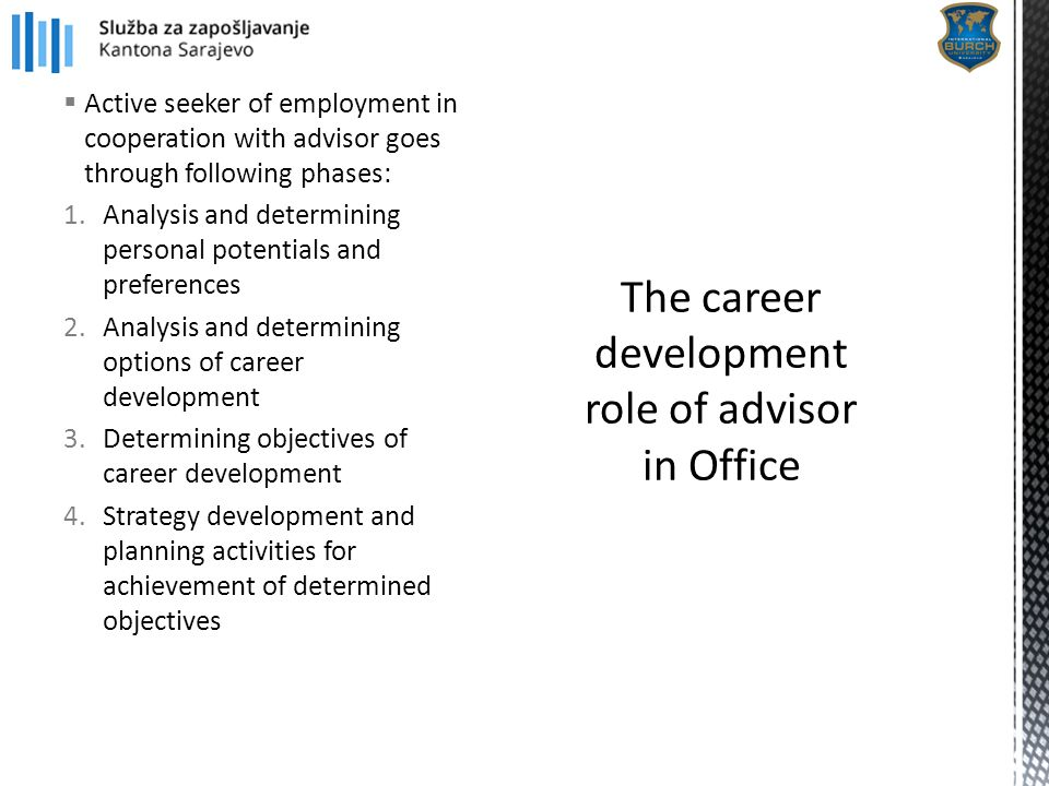  Active seeker of employment in cooperation with advisor goes through following phases: 1.Analysis and determining personal potentials and preference