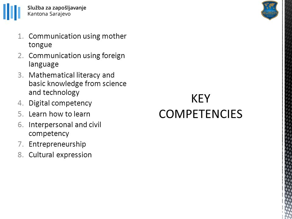 1.Communication using mother tongue 2.Communication using foreign language 3.Mathematical literacy and basic knowledge from science and technology 4.D