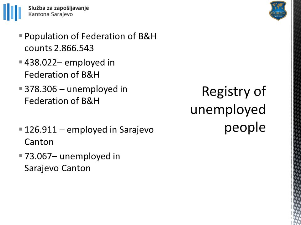  Population of Federation of B&H counts 2.866.543  438.022– employed in Federation of B&H  378.306 – unemployed in Federation of B&H  126.911 – em