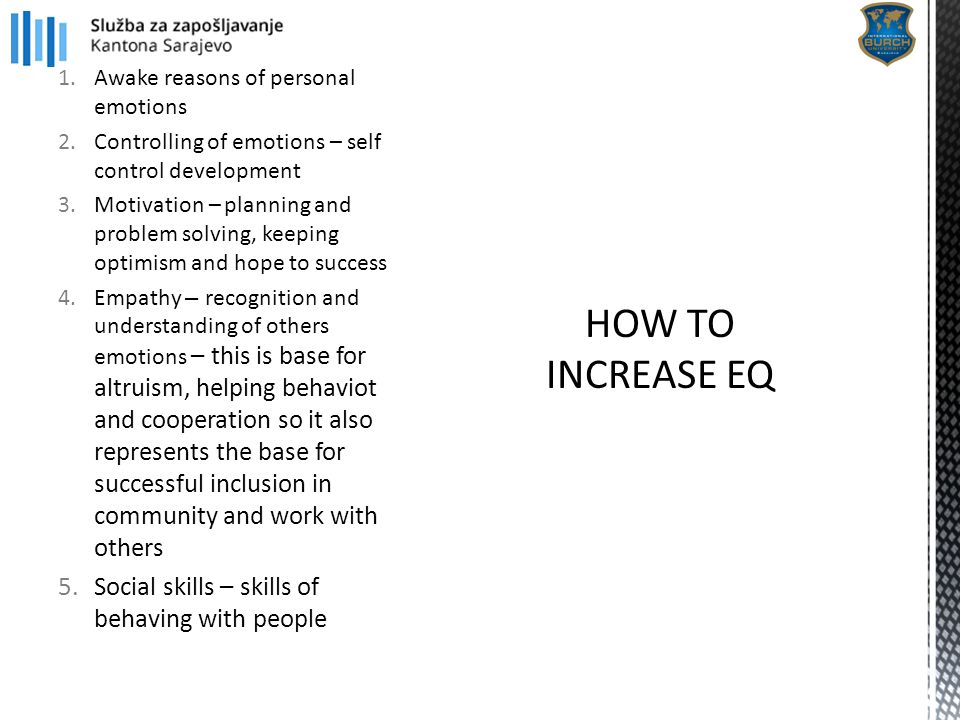 1.Awake reasons of personal emotions 2.Controlling of emotions – self control development 3.Motivation – planning and problem solving, keeping optimis