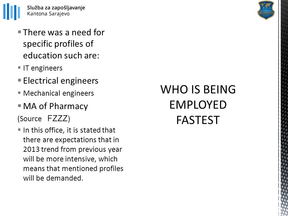  There was a need for specific profiles of education such are:  IT engineers  Electrical engineers  Mechanical engineers  MA of Pharmacy (Source