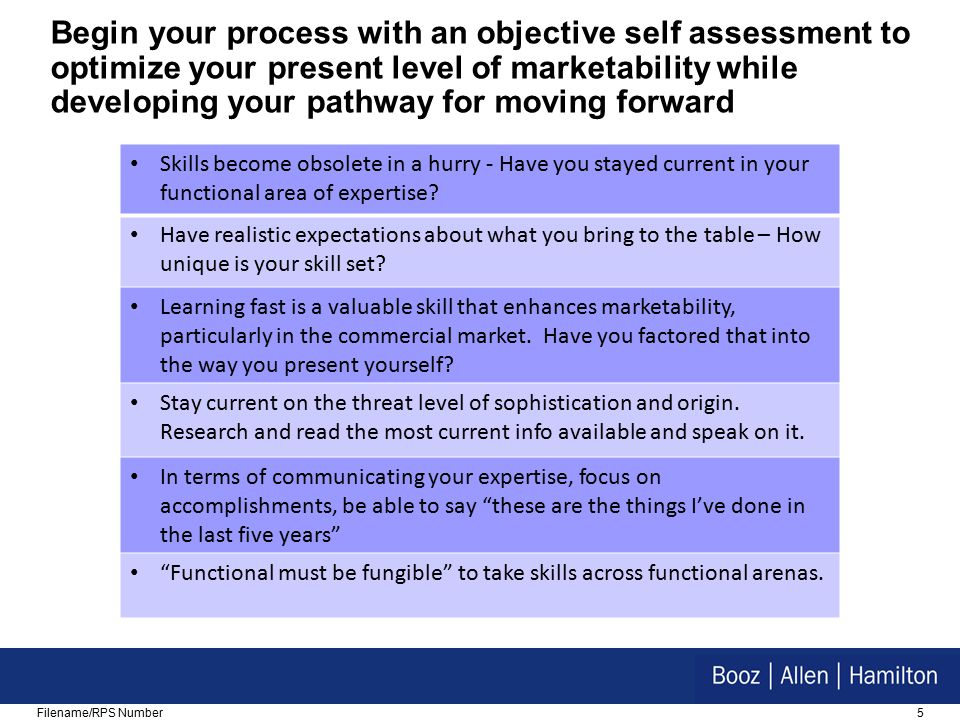 5Filename/RPS Number Begin your process with an objective self assessment to optimize your present level of marketability while developing your pathway for moving forward Skills become obsolete in a hurry - Have you stayed current in your functional area of expertise.