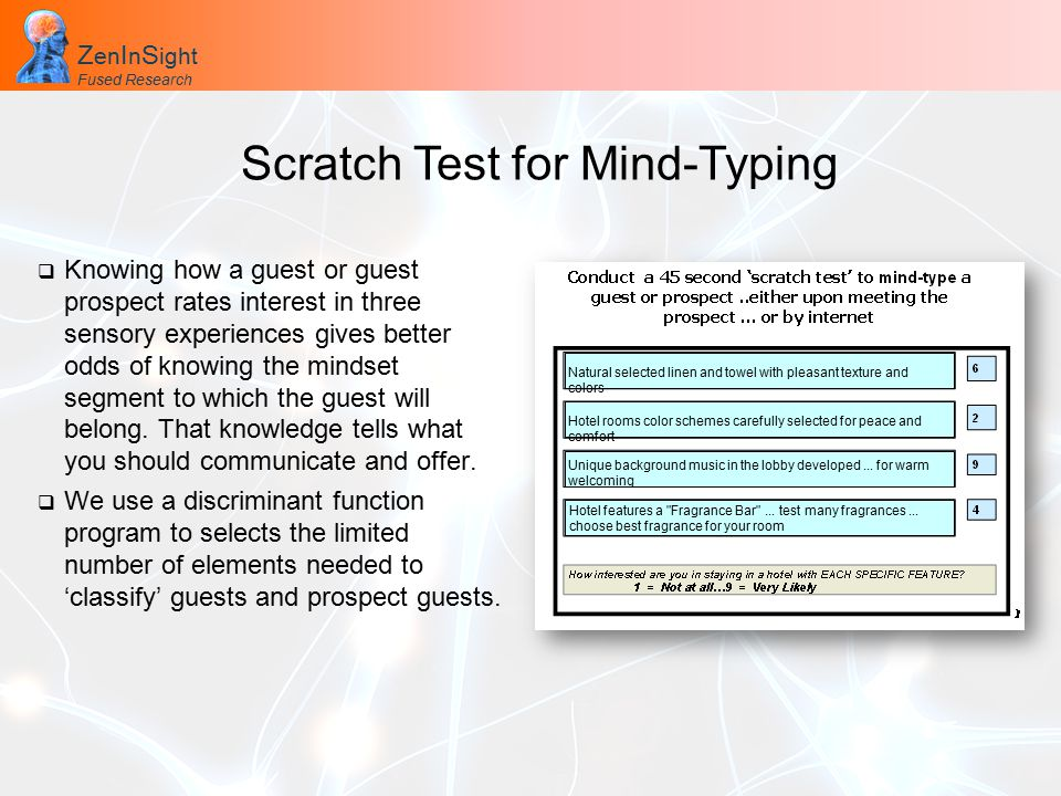 Z en I n S ight Fused Research Z en I n S ight Fused Research Scratch Test for Mind-Typing  Knowing how a guest or guest prospect rates interest in three sensory experiences gives better odds of knowing the mindset segment to which the guest will belong.