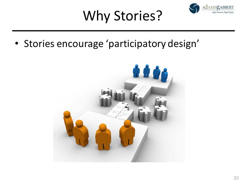 AdamsGabbert Proprietary 23 Why Stories Stories encourage 'participatory design' 23