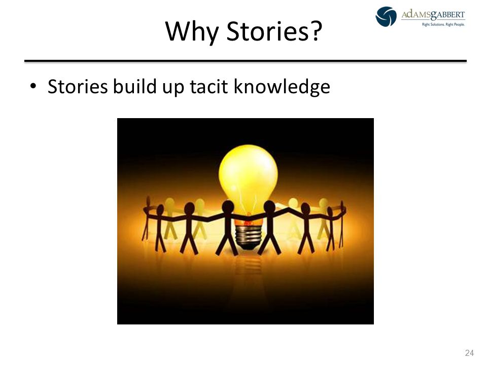 AdamsGabbert Proprietary 24 Why Stories? Stories build up tacit knowledge 24