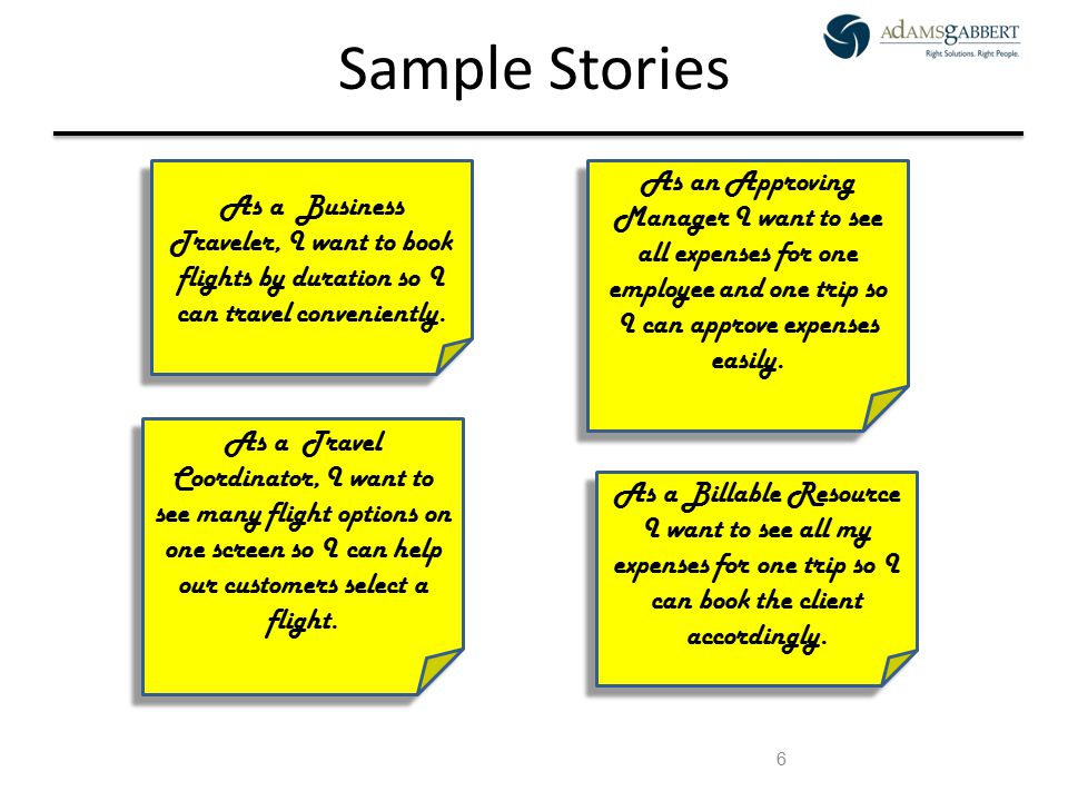 AdamsGabbert Proprietary 6 Sample Stories As a Business Traveler, I want to book flights by duration so I can travel conveniently. As a Travel Coordin