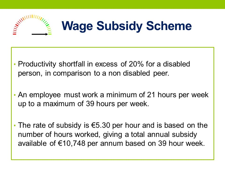Wage Subsidy Scheme Productivity shortfall in excess of 20% for a disabled person, in comparison to a non disabled peer.