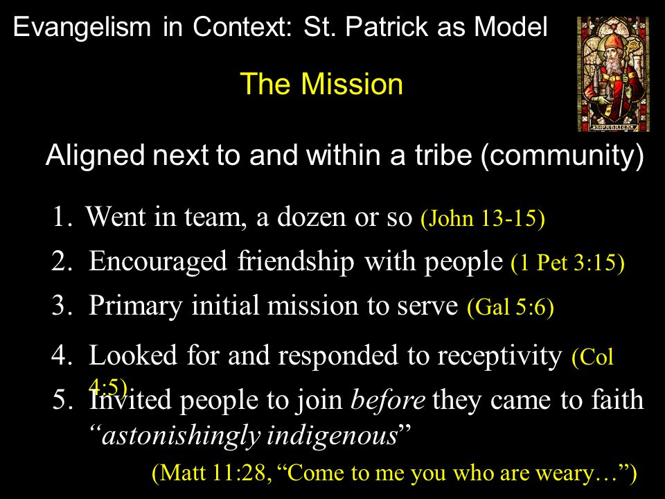 Evangelism in Context: St.Patrick as Model A.